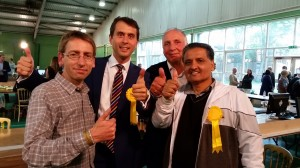 Cllrs Ehmann, Acton and Khosa celebrate their election victory with Lib Dem Group Leader, Cllr Stephen Knight